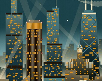 Chicago Illinois - Retro Skyline (Art Prints available in multiple sizes)