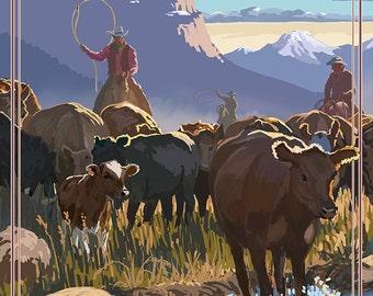 Cowboy Cattle Drive Scene - Pendleton, Oregon (Art Prints available in multiple sizes)