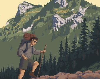 Pacific Crest Trail, Washington - Mountain Hiker (Art Prints available in multiple sizes)