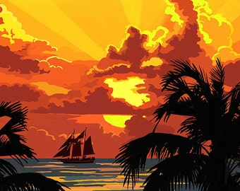Fort Myers, Florida - Sunset and Ship (Art Prints available in multiple sizes)