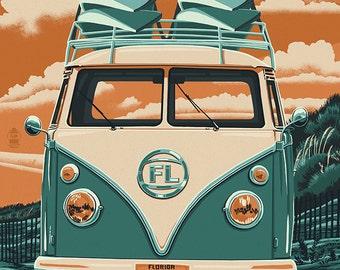 Daytona Beach, Florida - VW Van Letterpress (Art Prints available in multiple sizes)