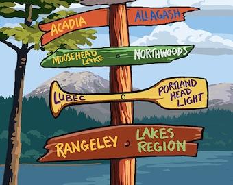 Mount Katahdin, Maine - Sign Destinations (Art Prints available in multiple sizes)