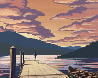 Squam Lake, New Hampshire - Dock and Sunset (Art Prints available in multiple sizes)