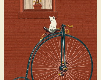 Bicycle - Letterpress (Art Prints available in multiple sizes)