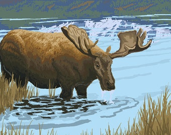 Bigfork, Montana - Moose and Lake (Art Prints available in multiple sizes)
