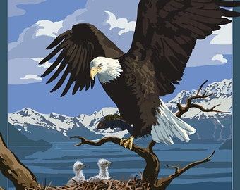 Eagle Perched with Chicks - Glacier National Park, Montana (Art Prints available in multiple sizes)