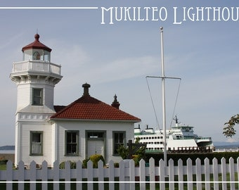 Mukilteo Lighthouse - Mt. Baker and Ferry - Mukilteo, WA (Art Prints available in multiple sizes)