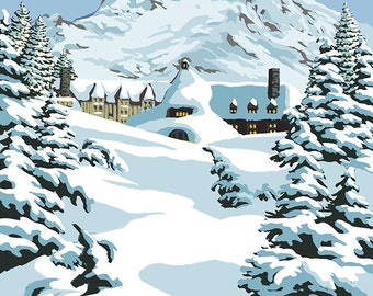 Timberline Lodge - Winter Scene at Mt. Hood (Art Prints available in multiple sizes)