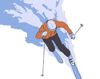 Stylized Skier - Mount Hood, OR (Art Prints available in multiple sizes)