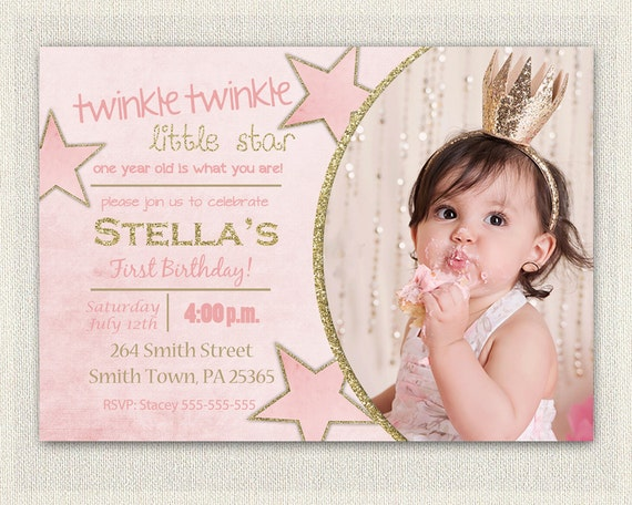 First Birthday Invitation Gold and Pink Princess Invitations – Pink 1st Birthday Invitations