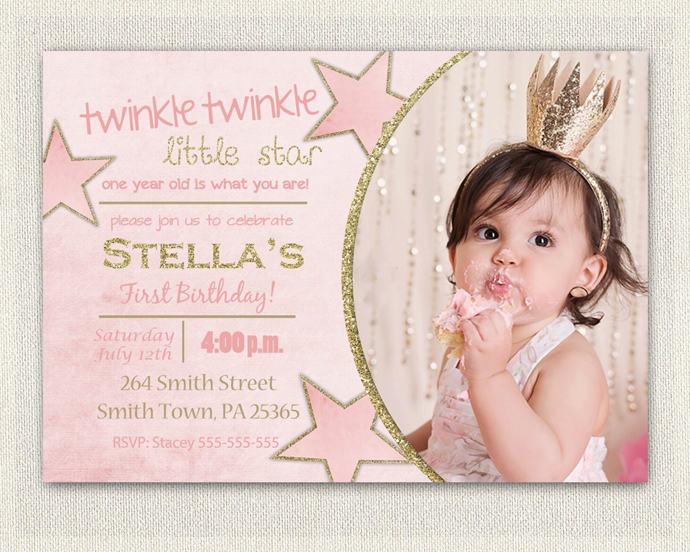 First Birthday Invitation Gold and Pink Princess Invitations