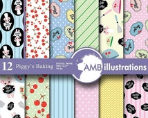 80%OFF Cooking digital paper, Pig paper, baking digital papers, baking images, owl scrapbook papers, commercial use, AMB-515