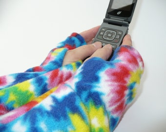 Colorful fleece texting gloves