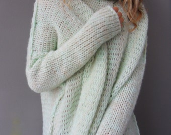 Oversized  Chunky knit  sweater / tunic.  Slouchy / Bulky/ Loose knit women sweater.