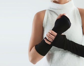 Black fingerless Gloves Unisex arm warmers Mitts - ARW