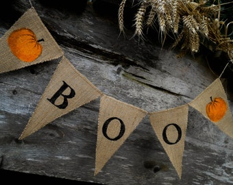 Halloween Decor Halloween Burlap Banner Fall Decor Halloween Decorations Boo Banner Halloween Banner Halloween Bunting Halloween Garland