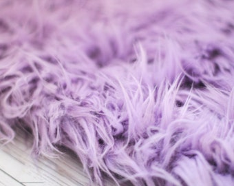 LARGE SIZE 3'x5' Soft Cozy Cuddly Lavender Faux Fur Nest Newborn Photography Prop Large Oversize Layer Stuffer Long Pile Faux Flokati