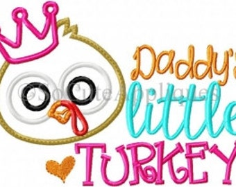 Daddy's little turkey embroidered shirt, SAMPLE SALE