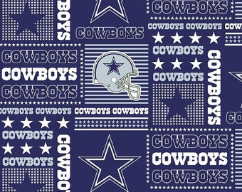 Dallas Cowboys fabric patchwork National Football League NFL fabric blue silver stars Texas 100% cotton quilting sewing fabric by the Yard