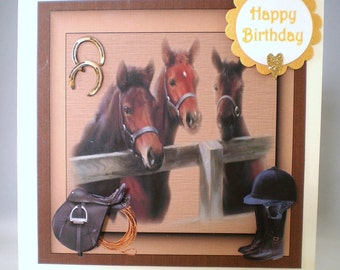 Handmade horses and foals Greeting Card, personalise,3D