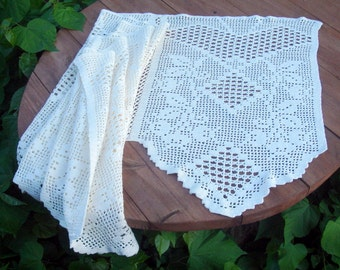 Vintage swedish curtain white long crocheted curtain valance.Crocheted Filet Window Valance White Crochet Lace Curtain.Handmade.Scandinavian