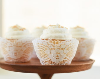 Real White Lace Cupcake Wrappers / Liners - wedding, rustic, vintage, princess, tea party, birthday, bridal shower, baby, bachelorette
