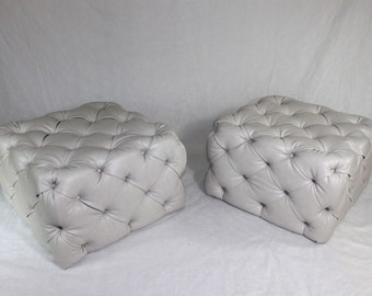 available large pair of light grey vinyl tufted ottomans large square fabric coffee table ottoman
