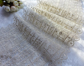 Gold Lace Fabric Trim,  Gold Thread Embroidery Tulle Lace, Vintage Style Lace Trim, One Yard