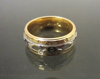 Antique 14K Solid Yellow & White Gold Engraved Wedding Band Ring Size 3.5