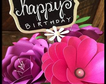 Birthday Flower Bouquet - Paper Flower Arrangement - First 1st Anniversary - Pink Purple Wedding Centerpiece - Gift For Her- Mom - Hostess
