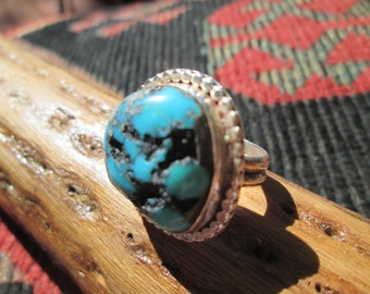 Vintage Turquoise and Sterling Silver Ring Size 6