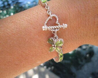 Peridot and Sterling Link Bracelet
