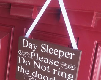 Day Sleeper Please Do Not Ring The Bell Hand Painted Front Door Decor Painted Door Hanger