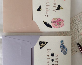 Liberty london fabric embellished greeting cards, made in France