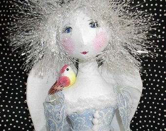 Cloth Doll PDF pattern Sewing Snow Angel epattern Art Doll, Mixed Media Instant Download Whimsical textile doll Holiday pattern easy pattern