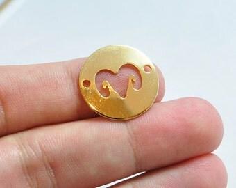 20mm Round Aries Charm, Brass Horoscope Disc Charm, Zodiac Sign Charm, Personalized Necklace Charm