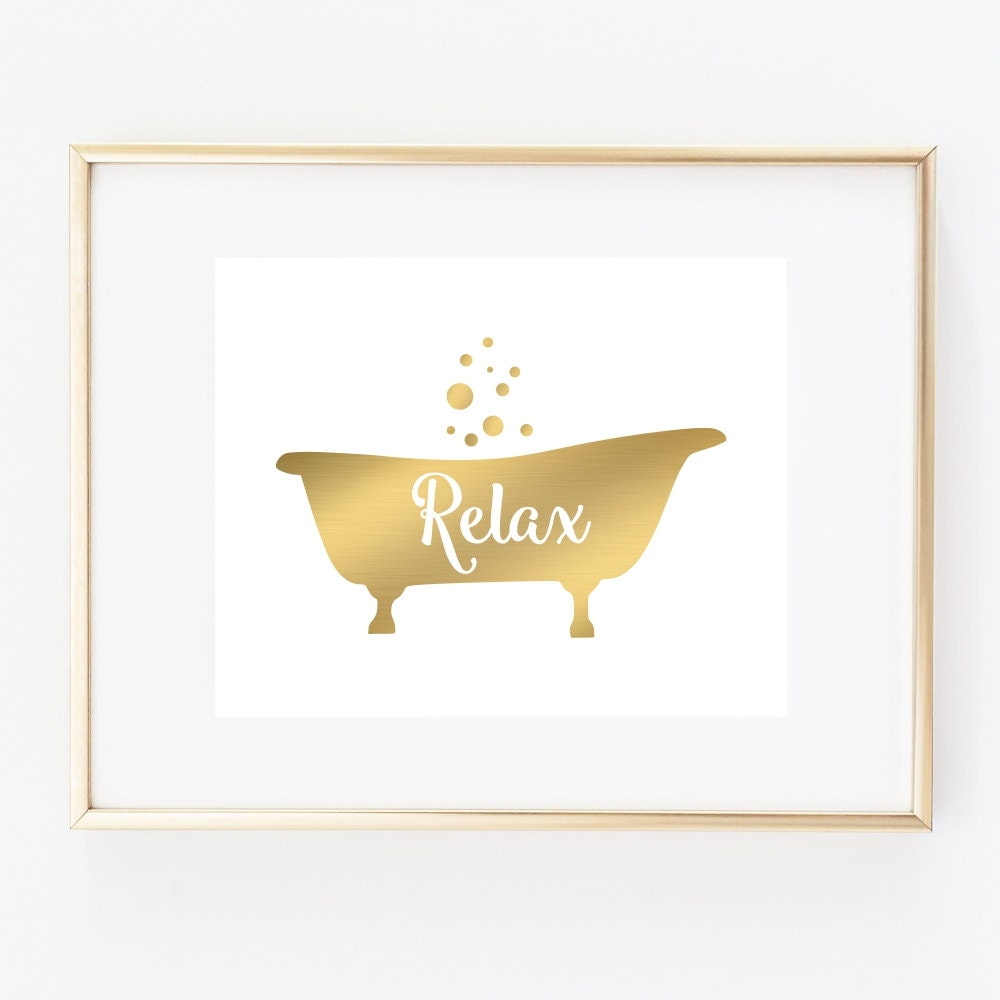Bathtub art print bathroom wall decor relax art faux gold for Bathroom wall decor images