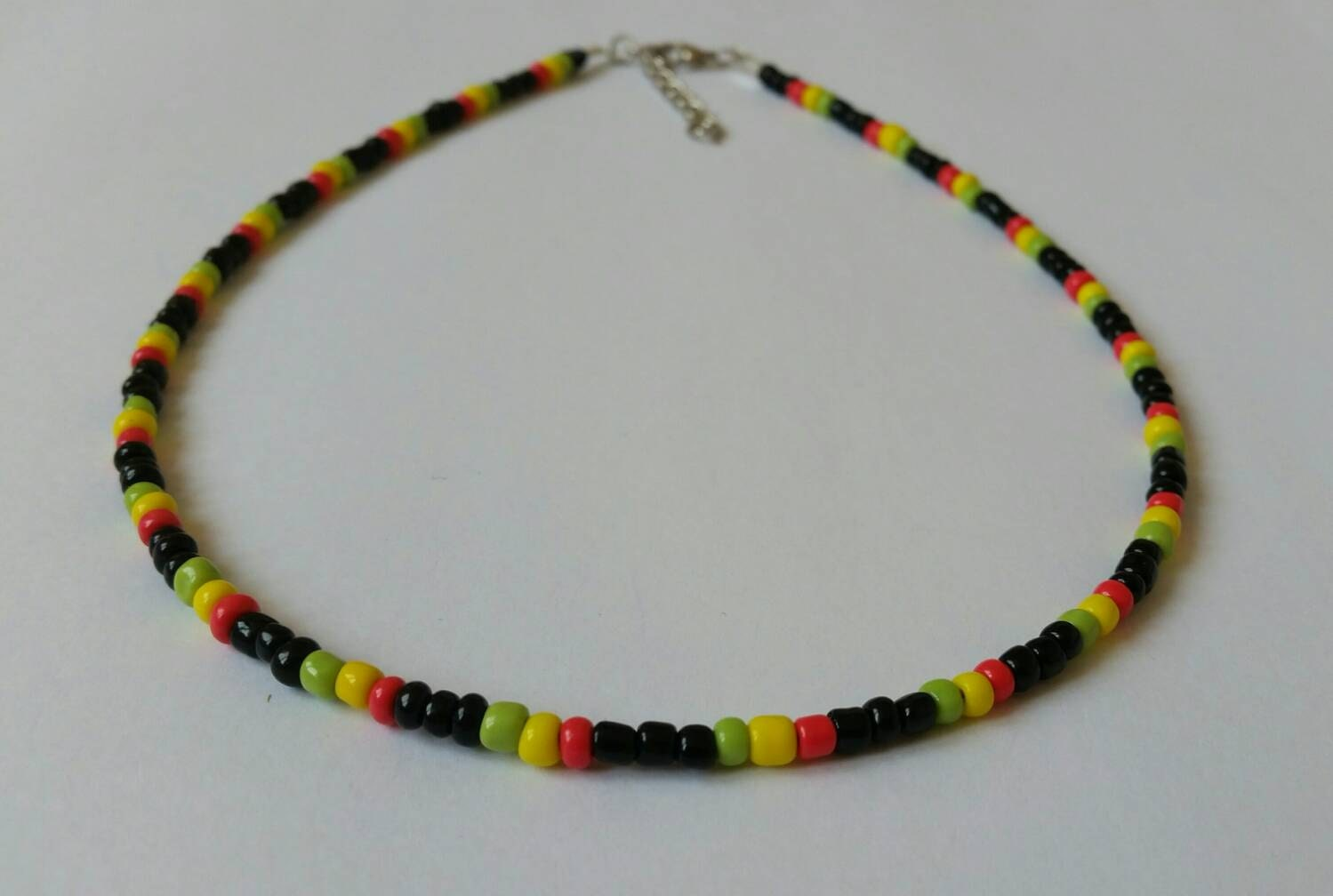 beaded choker necklace rasta necklace reggae seed bead