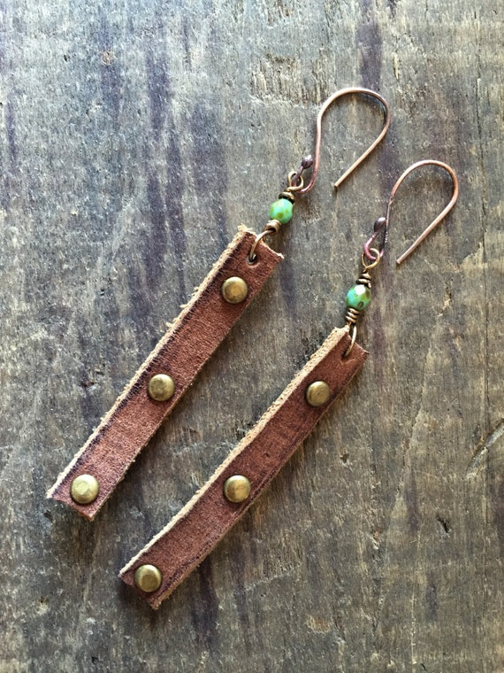 Leather earrings with rivets boho chic jewelry for Rivets for leather jewelry