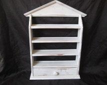 White distressed shelf with draw, miniature display shelf, knick knack shelf, shabby chic decor