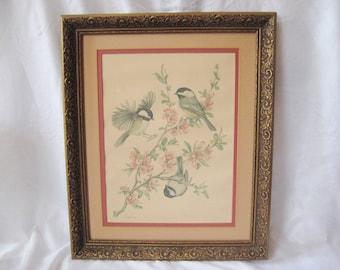 Vintage bird print, finch on cherry blossoms, vintage ornate frame, Fogelsong print, 950