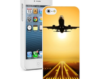 For Apple iPhone SE 4 4s 5 5s 5c 6 6s 7 Plus Hard Case Cover 508 Airplane Take Off Sunset