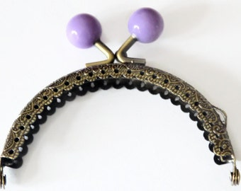 Purple Purse Clasp - 8.8 x 7.5cm - Bronze Tone - Arch Frame - Kiss Lock - Round Coin Clasp - Purse Hardware - Metal Clasp Frame - F34