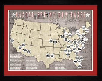 NASCAR Racing Sprint Cup Racetracks Races Tracking Map | Print Gift Wall Art TNASC1824-2