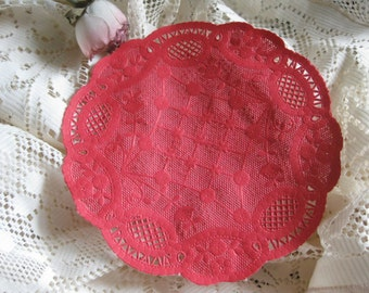 "vtg 6"" inch Red Princess PAPER LACE Round DOILIES 5 Pcs Cards Crafts Love Valentine's Day"