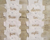 Baby Girl Gold Glitter 12 Month Glitter Heat Transfer Decals DIY - Many Colors Available!