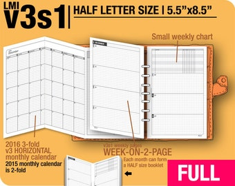 FULL [HALF size v3s1 w/o daily] January to December 2018 -Half Letter Filofax Inserts Printable Binder Planner Midori.