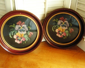Vintage Pair Hand Made Handmade Needlepoint Pansies Wall Hangings in Round Wood Wooden Frames Cottage Chic Romantic