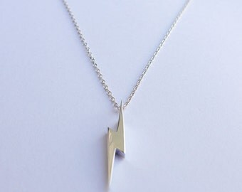 Solid Sterling Silver Lighting Bolt Pendant Necklace