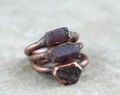 Raw Ruby Ring Electroformed Copper Ring Stone Ring Natural Stone Delicate Ring Cancer Jewelry